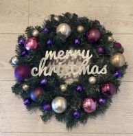Christmas Wreath Purple Pink Gold Bauble Fairy Lights Front Door Wall Decoration